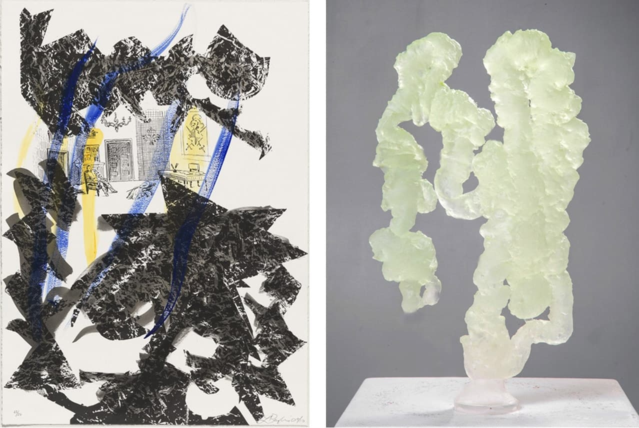 A lithograph and sculpture by Abstract Expressionist female artist Lynda Benglis