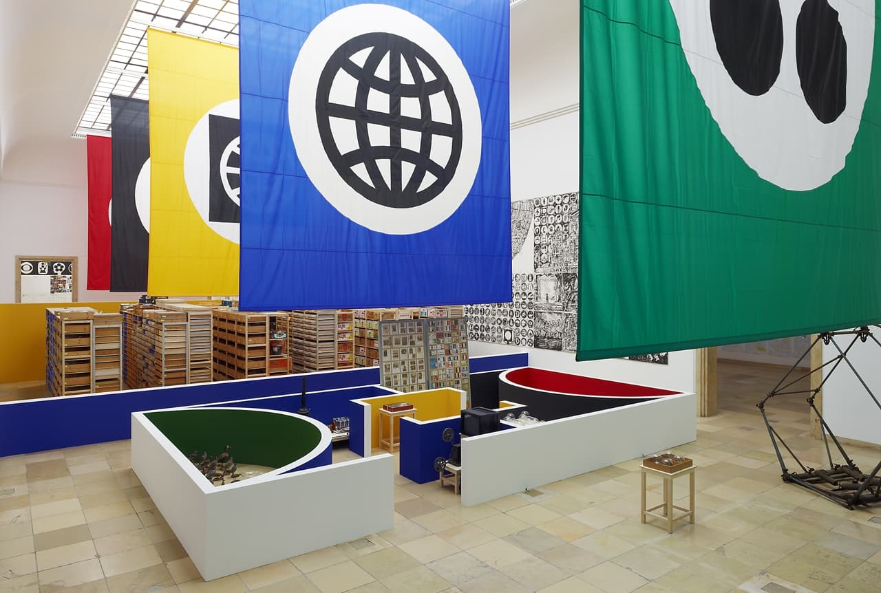 Installation view of Matt Mullican, Organizing the World, Haus der Kunst, Munich 2011