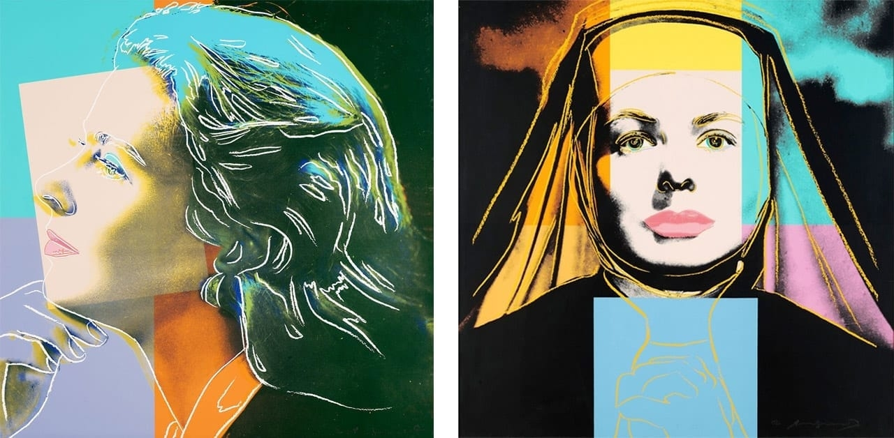 Left: Andy Warhol, Ingrid Bergman, Herself FS II.313, 1983. Right: Andy Warhol, Ingrid Bergman, The Nun FS II.314, 1983. Courtesy: Gregg Shienbaum Fine Art, Miami, and fineartmultiple