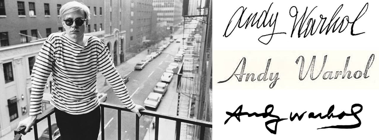Left: Stephen Shore, Andy Warhol on fire escape of the Factory, 231 East 47th Street, 1965-7. © Stephen Shore. Right, from to bottom: Andy Warhol's 1954 signature, Andy Warhol's 1967 signature, Andy Warhol's 1985 signature.