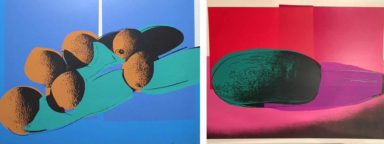 "Left: Andy Warhol, Cantaloupes I (FS II.201), 1979. Right: Andy Warhol, Watermelon (FS II.199), from the Portfolio ""Space Fruit: Still Lifes"", 1979, both screenprint on Lenox Museum Board, both Editions of 150. Both Courtesy of Revolver Gallery and fineartmultiple"