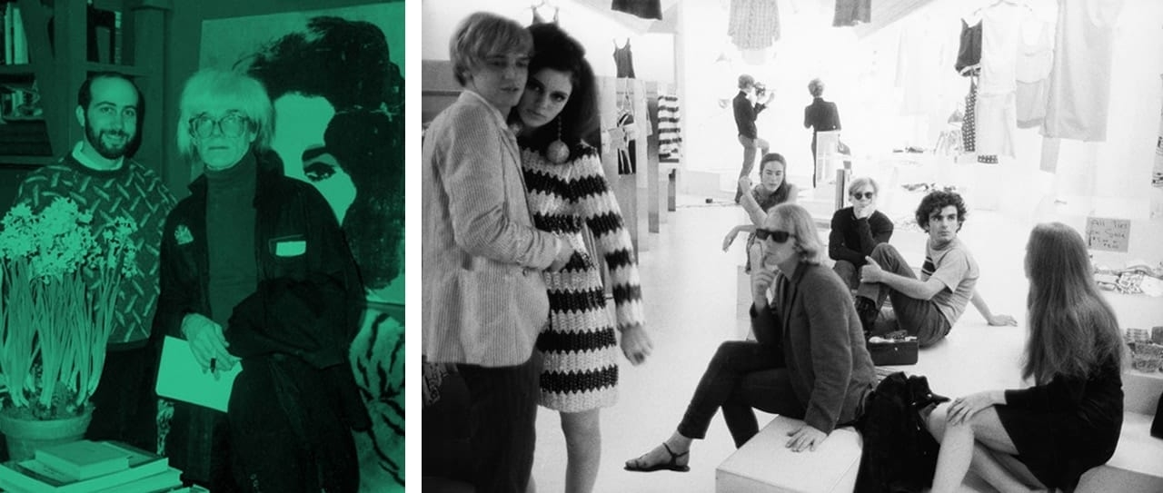 Left: Richard Polsky and Andy Warhol in his studio, 1986. Courtesy of Richard Polsky.  Right: Stephen Shore, Rene Ricard, Susan Bottomly, Eric Emerson, unidentified woman, Mary (Might) Woronov, Andy Warhol, Ronnie Cutrone, Paul Morrissey, Edie Sedgwick. Paraphernalia's opening and show, 1966. © Stephen Shore