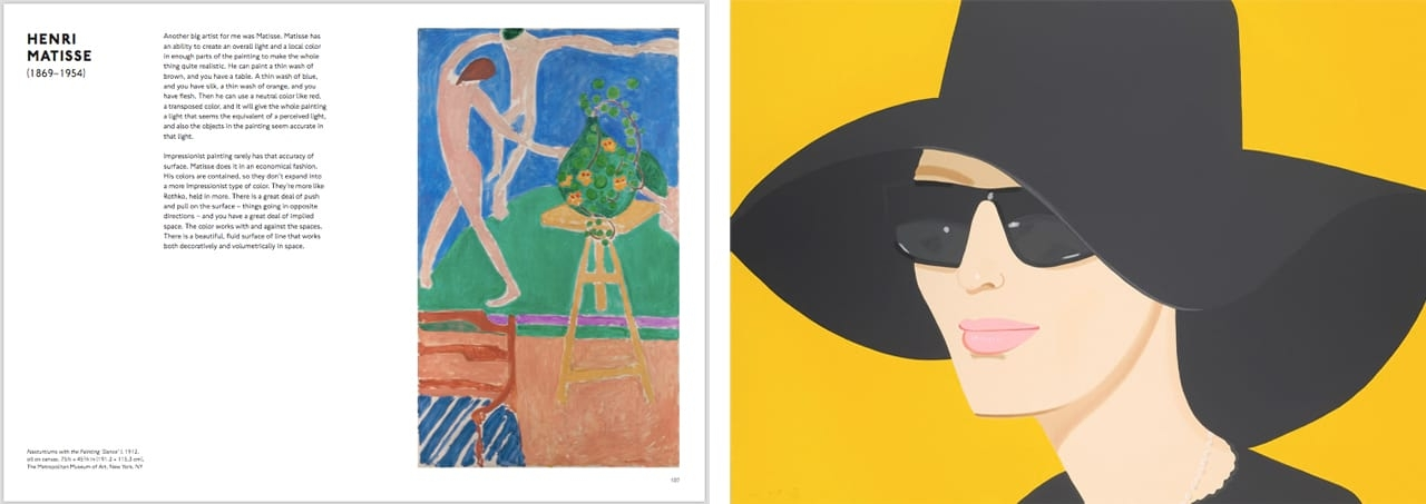 Left: Pages from Looking at Art with Alex Katz, by Alex Katz, published by Laurence King, 2018. © The Author and Laurence King Publishing. Right: Alex Katz, Ulla in Black Hat, 2010. Courtesy of Galerie Frank Fluegel and fineartmultiple, available to buy on fineartmultiple