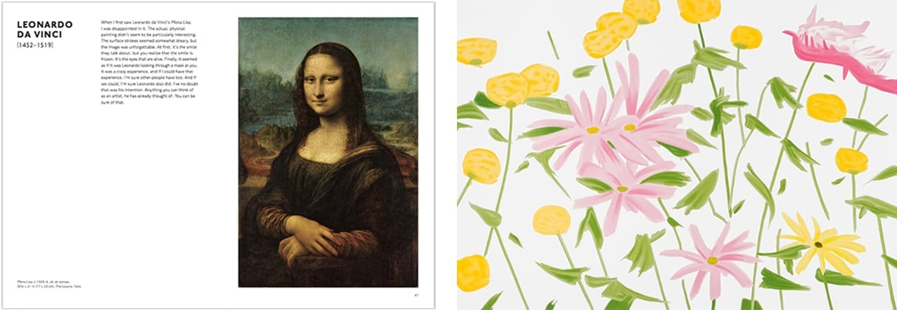 Left: Pages from Looking at Art with Alex Katz, by Alex Katz, published by Laurence King, 2018. © The Author and Laurence King Publishing. Right: Alex Katz, Spring Flowers, 2017. Courtesy of Galerie Frank Fluegel and fineartmultiple, available to buy on fineartmultiple