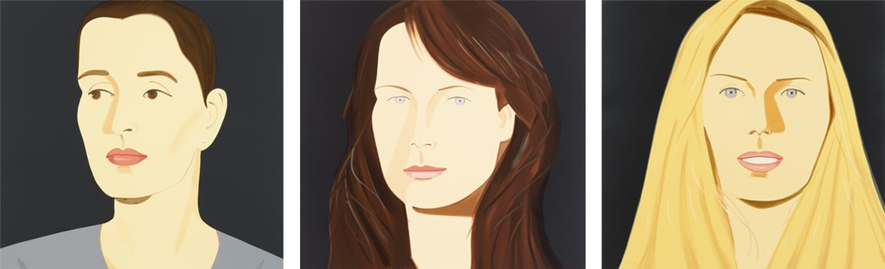Left: Alex Katz, Vivien (Bittencourt), 2012. Middle: Alex Katz, Sophia (Holman), 2012. Right: Alex Katz, Sarah (Mearns), 2012. All Courtesy of Galerie Frank Fluegel and fineartmultiple, all available to buy on fineartmultiple