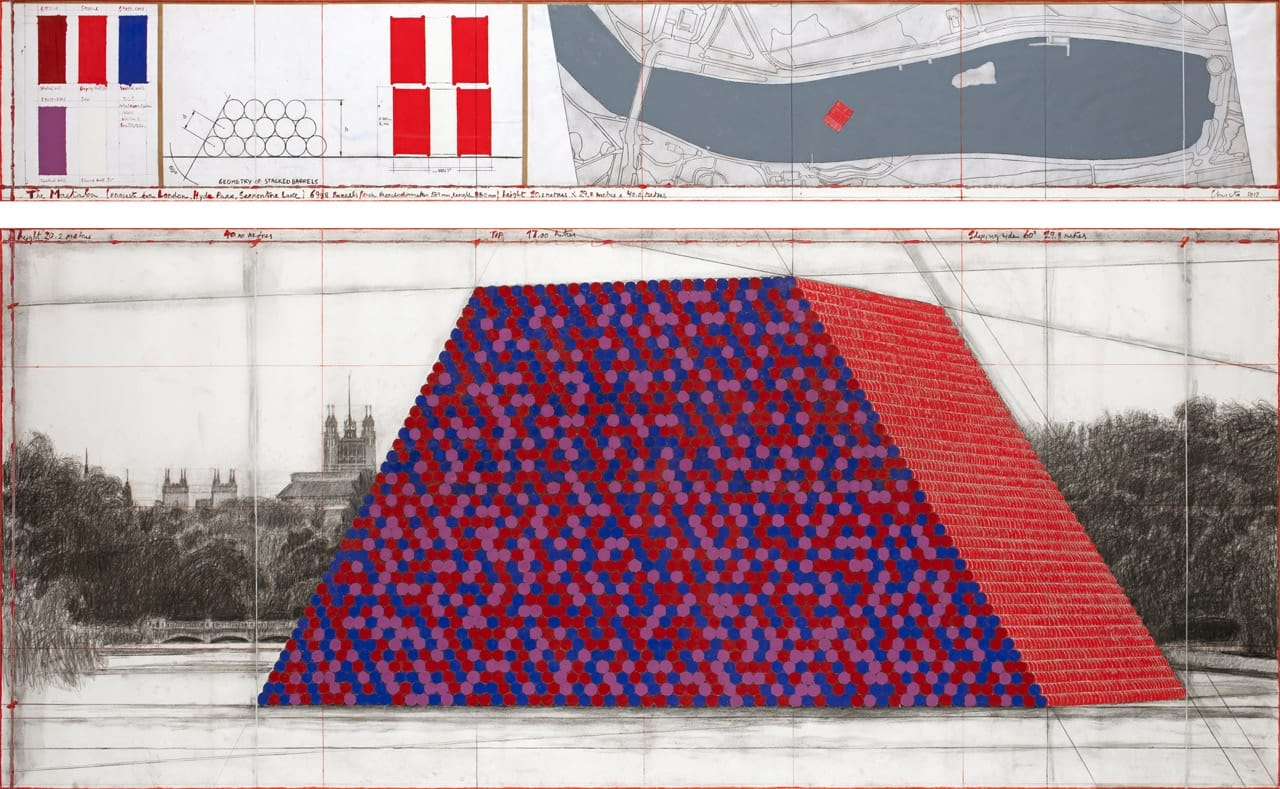 Christo, The Mastaba (Project for London, Hyde Park, Serpentine Lake), 2017, Drawing. Photo: André Grossmann. © 2017 Christo