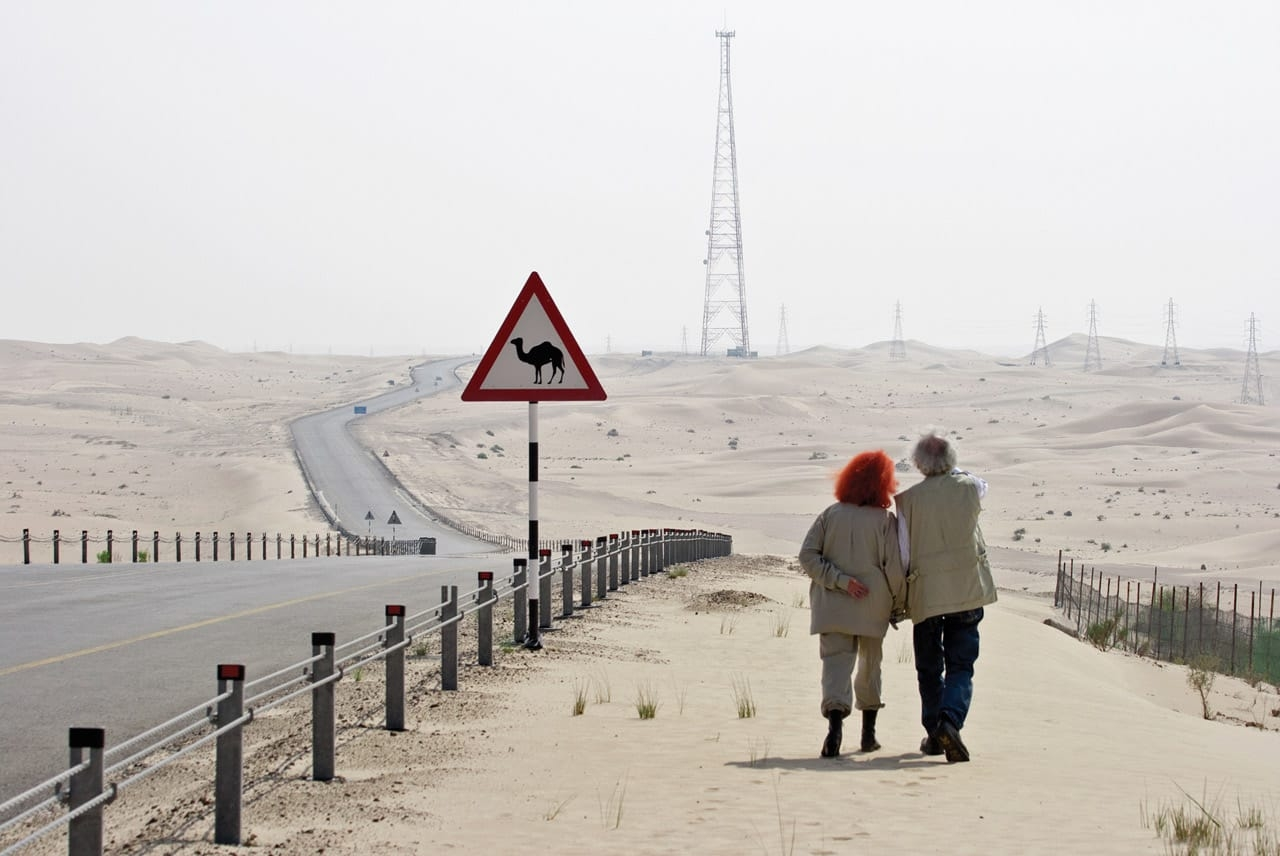 Christo and Jeanne-Claude scouting locations for the site of The Mastaba, October 2007. Photo: Wolfgang Volz. © 2007 Christo