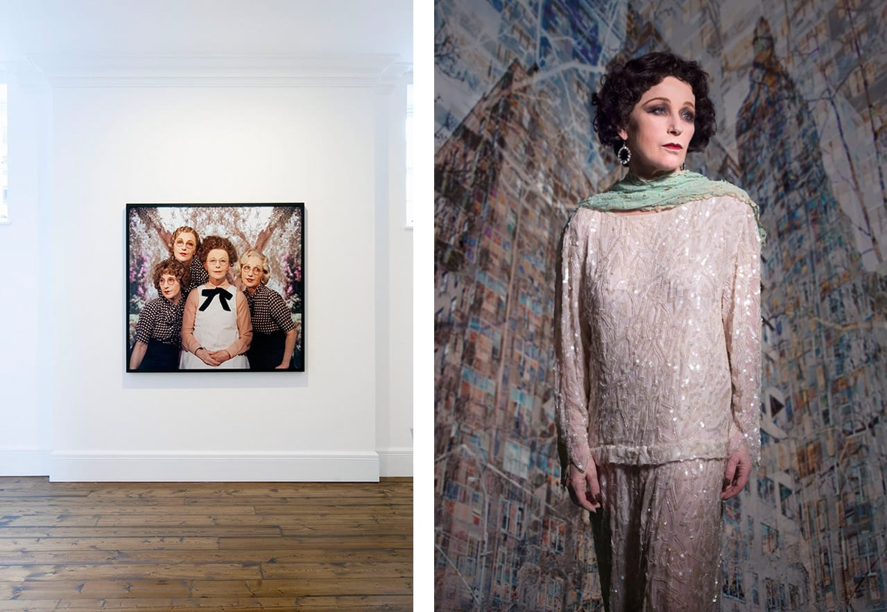Left: Installation view, Cindy Sherman, Sprüth Magers, London. Photo: Voytek Ketz. Courtesy Sprüth Magers. Right: Cindy Sherman