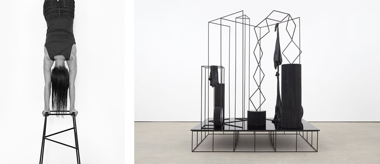 Left: Eva Rothschild, Handstand, 2011. Courtesy of The Hepworth Wakefield and fineartmultiple, available to buy on fineartmultiple. Right: Eva Rothschild, Hangouts, 2018. Photo: Robert Glowacki. © Eva Rothschild. Courtesy of Stuart Shave/Modern Art