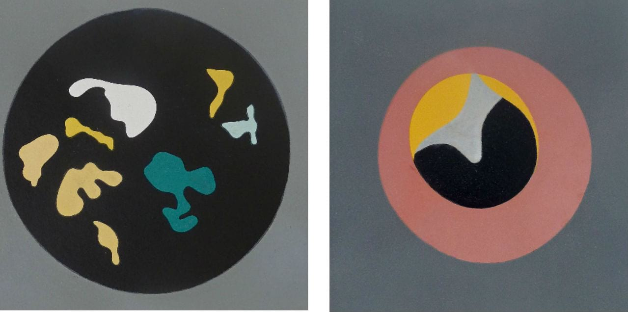 "Left: Hans Arp, Untitled, from Le Soleil Recerclé (Black Circle Small Shapes), 1962/1965. Right: Hans Arp, Untitled, from ""Le Soleil Recerclé"" (Pink Eye in Grey Square), 1962/1965. Both courtesy of Gilden's Art Gallery, both available to buy on fineartmultiple"