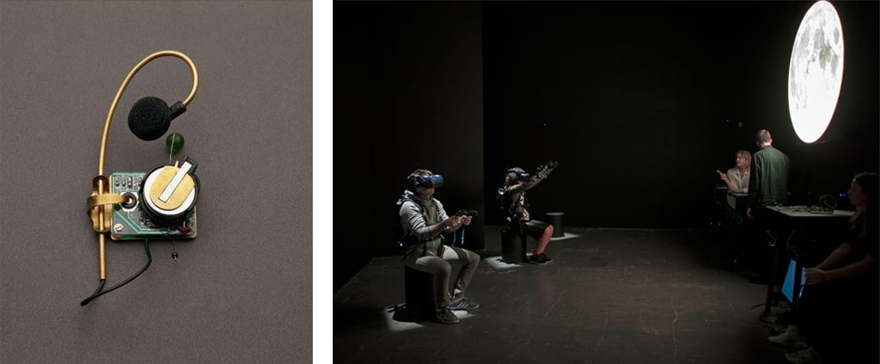 Left: Laurie Anderson, Hearring, 1997. Courtesy of Parkett and fineartmultiple, available to buy on fineartmultiple. Right: Installation shot of The Moon - From Inner Worlds to Outer Space, Louisiana Museum of Modern Art, Denmark, 2018. Courtesy of the Louisiana Museum of Modern Art, Denmark