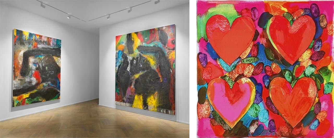 Left: Installation view, Jim Dine: The Black Paintings, 2018. Richard Gray Gallery, New York. Courtesy of Richard Gray Gallery. Right: Jim Dine, Four Hearts, 1969. Image: via wikiart.org