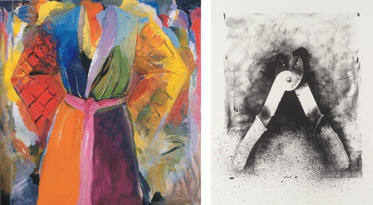 Left: Jim Dine, The Robe Following Her, 1985. Right: Jim Dine, Untitled (from Ten Winter Tools), 1973. Images: via wikiart.org