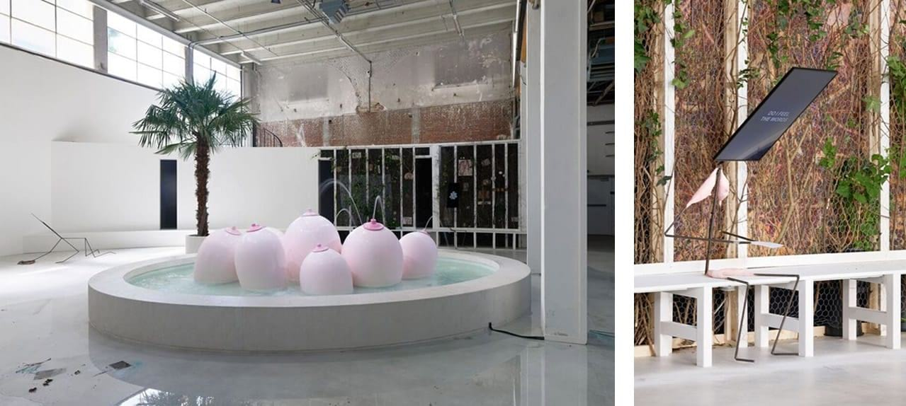 Installation views of Laure Prouvost, Ring, Sing and Drink for Trespassing, Palais de Tokyo, Paris, 2018. Photos: Aurélien Mole. Courtesy of the artist, Nathalie Obadia, Paris/Brussels, carlier | gebauer, Berlin, and Lisson Gallery, New York/London