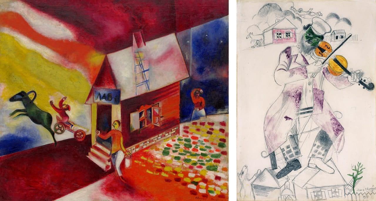Left: Marc Chagall, The Flying Carriage (La calèche volante), 1913. Courtesy of Solomon R. Guggenheim Museum, New York. © Marc Chagall, Vegap, Bilbao, 2018. Right: Marc Chagall, Study for Music (Fourth panel for the State Jewish Chamber Theater, Moscow) [Étude pour La Musique (Quatrième panneau pour Le Théâtre d'art juif de Moscou)], 1917. Photo: Ewald Graber. © Marc Chagall, Vegap, Bilbao 2018