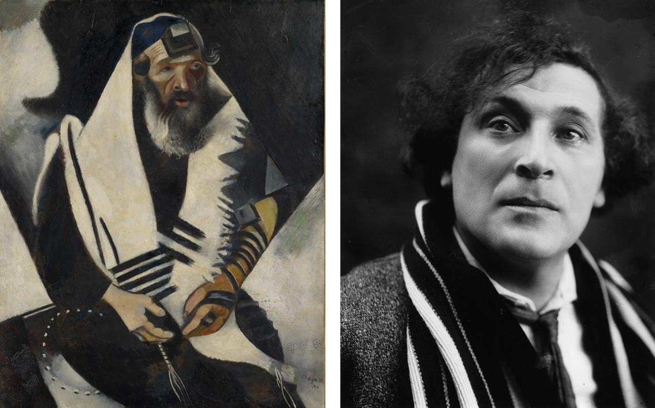 Left: Marc Chagall, Jew in Black and White (Le juif en noir et blanc), 1914. Courtesy of the Im Obersteg Collection and Kunstmuseum Basel. © Marc Chagall, Vegap, Bilbao, 2018. Right: Marc Chagall in the 1920s. Photo: via Wikimedia Commons