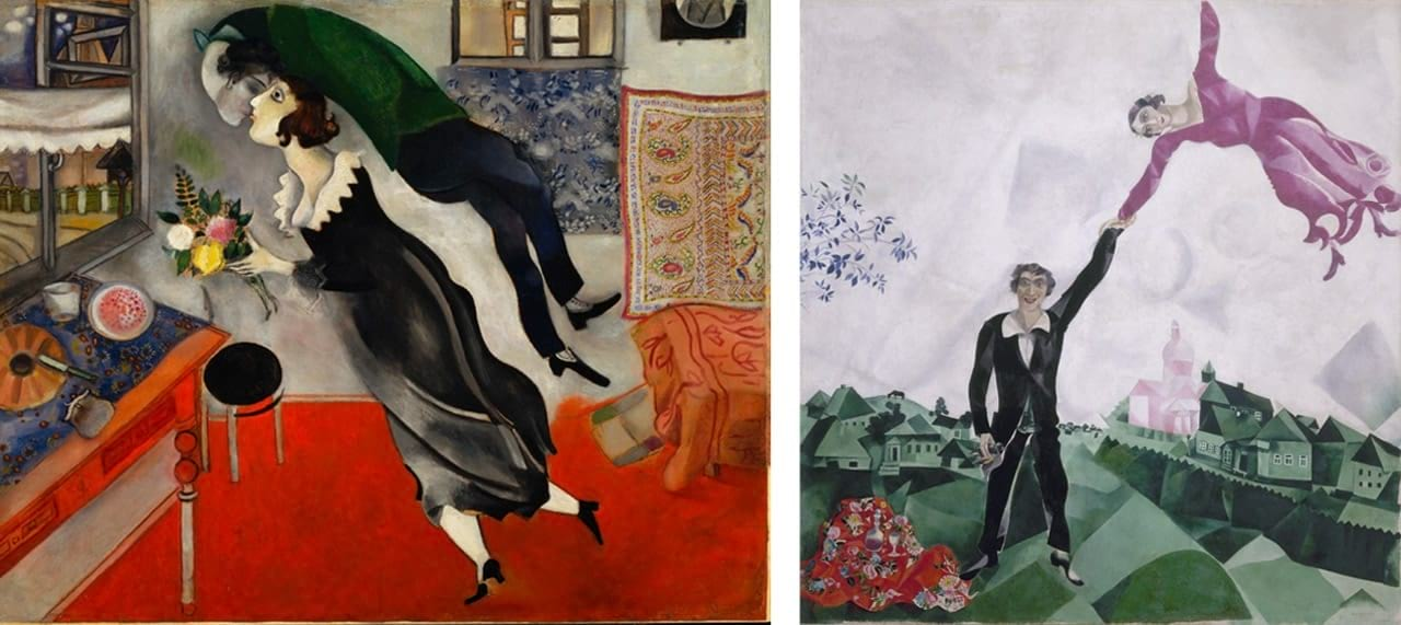 Left: Marc Chagall, Birthday (L'anniversaire), 1915. Courtesy of The Museum of Modern Art, New York. © The Museum of Modern Art, NewYork/Scala, Florence and Marc Chagall, Vegap, Bilbao, 2018. Right: Marc Chagall, The Promenade (Promenade), 1917–18. Courtesy of the State Russian Museum, Saint Petersburg. © Marc Chagall, Vegap, Bilbao 2018