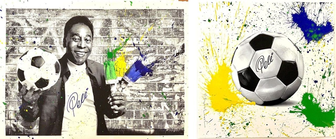 Left: Mr. Brainwash, The King Pelé - Portrait, 2016. Right: Mr. Brainwash,The King Pelé Football, 2016. Both Courtesy of Galerie Frank Fluegel and fineartmultiple, both available to buy on fineartmutliple