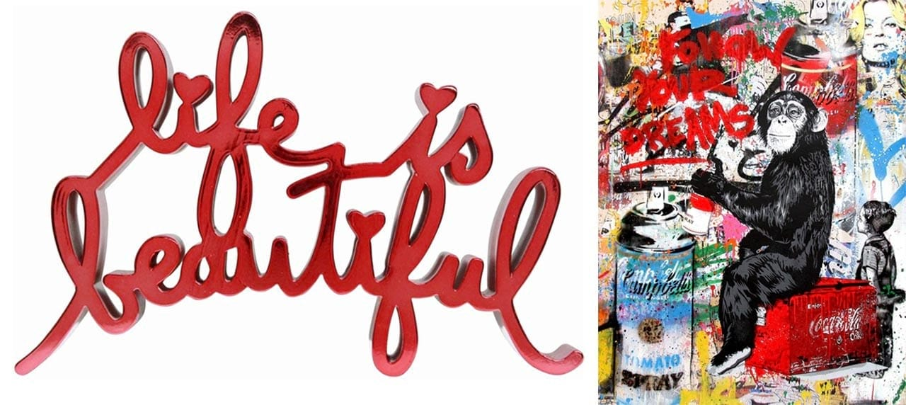 Left: Mr. Brainwash, Life is Beautiful – Hard Candy Red, 2017. Right: Mr. Brainwash, Every Day Life - Follow Your Dreams (Campbell's Soup), 2017. Both Courtesy of Galerie Frank Fluegel and fineartmultiple, both available to buy on fineartmultiple