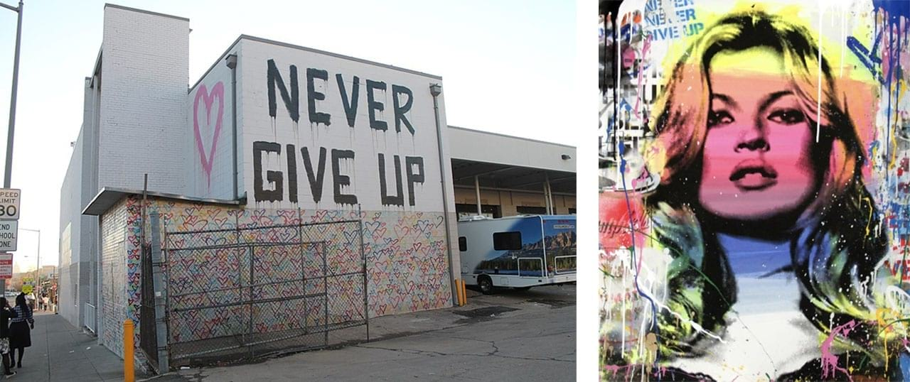 Left: Mr. Brainwash, International Women's Day Mural at Union Market, Washington, 2016. Image: via Wikimedia Commons. Right: Mr. Brainwash, Kate Moss, 2018. Courtesy of Galerie Frank Fluegel and fineartmultiple, available to buy on fineartmultiple