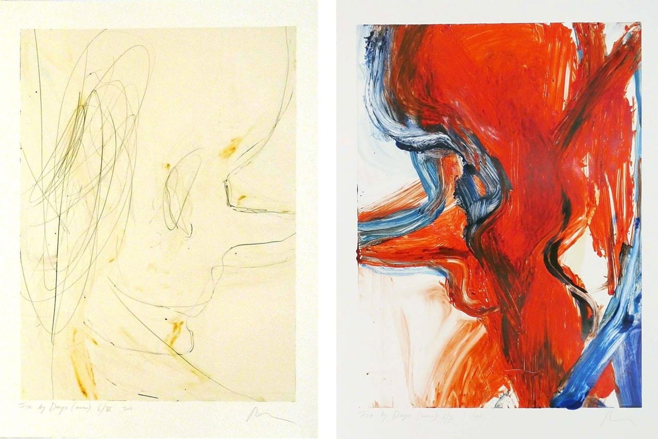 Left: Rita Ackermann, Fire By Days 6/VI, 2011. Right: Rita Ackermann, Fire By Days 8/III, 2011. Both Courtesy of Derriere L'Etoile Studios and fineartmultiple, both available to buy on fineartmultiple