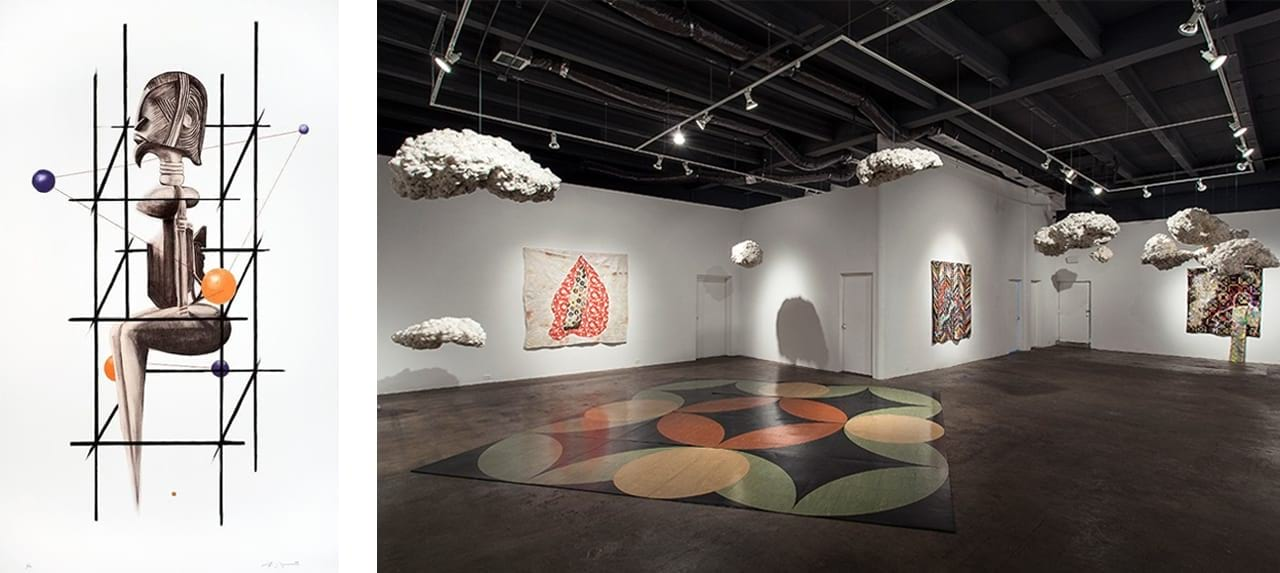 Left: Sanford Biggers, Psyche, 2009. Courtesy of Derriere L'Etoile Studios and fineartmultiple, available to buy on fineartmultiple. Right: Installation shot of Sanford Biggers: 3 Dollars & 6 Dimes at David Castillo Gallery, 2014. Image: via Wikimedia Commons
