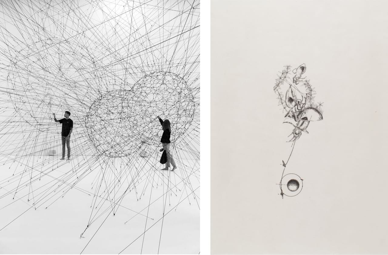 Left: Tomás Saraceno, ON AIR, Palais de Tokyo, Paris, 2018. Photo: Andrea Rossetti. Courtesy the artist; Andersens, Copenhagen; Esther Schipper, Berlin; Pinksummer Contemporary Art, Genoa; Ruth Benzacar, Buenos Aires; Tanya Bonakdar Gallery, New York. Right: Tomás Saraceno, Outer space seems not so unfamiliar, 2014. Courtesy of Niels Borch Jensen and fineartmultiple, available to buy on fineartmultiple