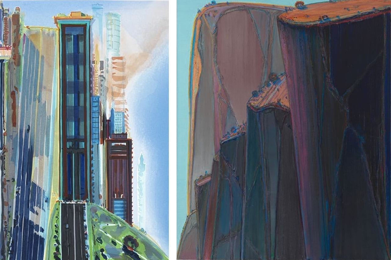 Left: Wayne Thiebaud, Hill Street, 1987. Courtesy of Lyndsey Ingram and fineartmultiple, available to buy on fineartmultiple. Right: Wayne Thiebaud, Canyon Mountains, 2011-12. Photo: Katherine Du Tiel. © Wayne Thiebaud / Licensed by VAGA, New York. Courtesy of SFMOMA