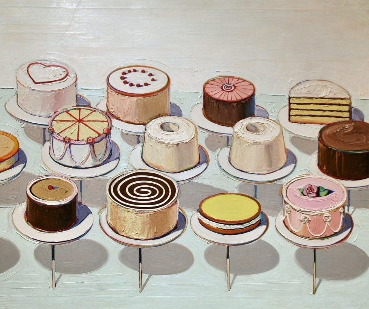 Wayne Thiebaud, Cakes, 1963. Image: via Wikimedia Commons
