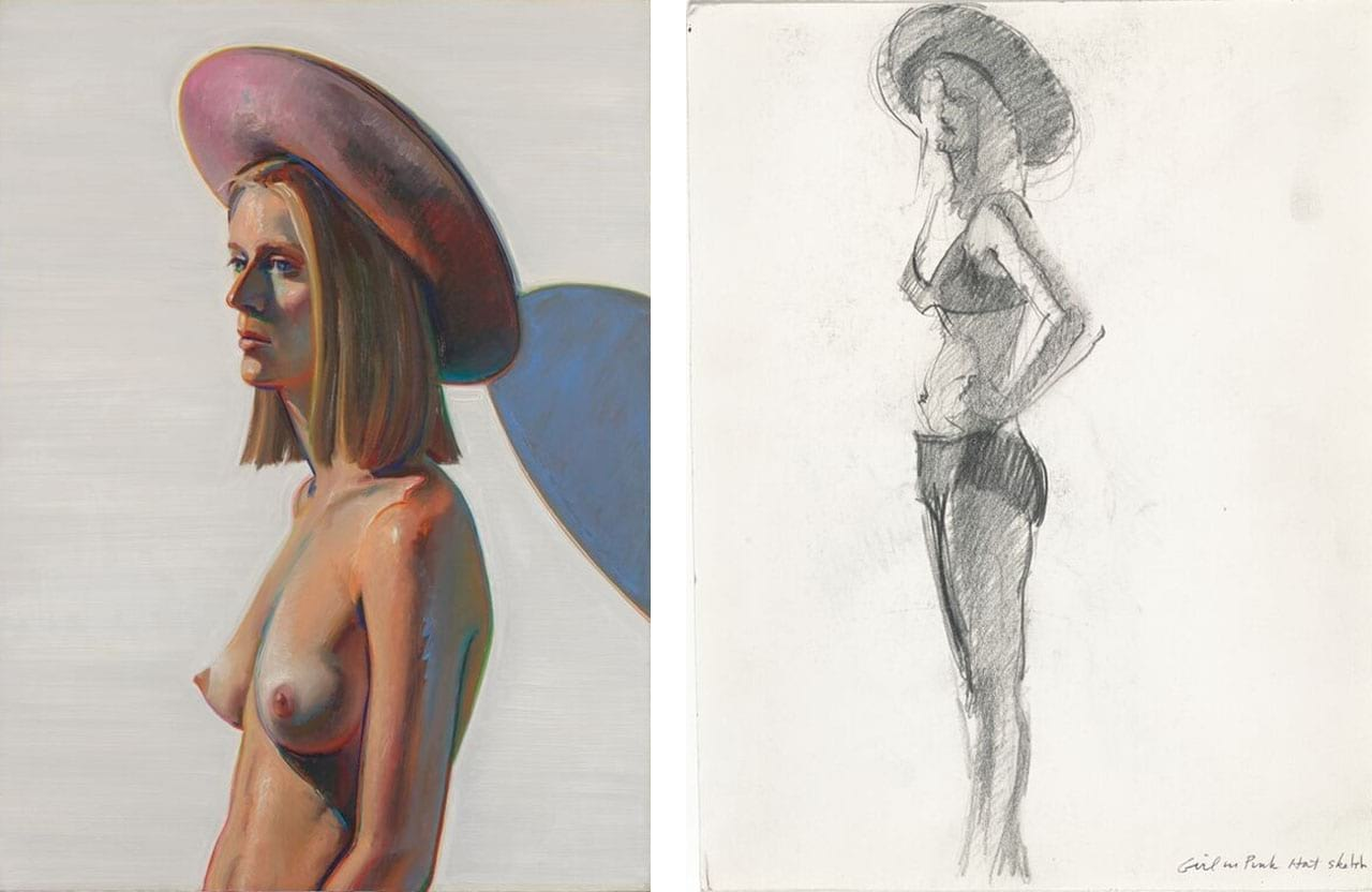"Left: Wayne Thiebaud, Girl with a Pink Hat, 1973. Photo: Don Ross. © Wayne Thiebaud / Licensed by VAGA, New York. Gift of Jeannette Powell. Courtesy of SFMOMA. Right: Wayne Thiebaud, Sketch for ""Girl with a Pink Hat,"" 1973. Photo: Don Ross. © Wayne Thiebaud / Licensed by VAGA, New York. Gift of Betty Jean and Wayne Thiebaud. Courtesy of SFMOMA"