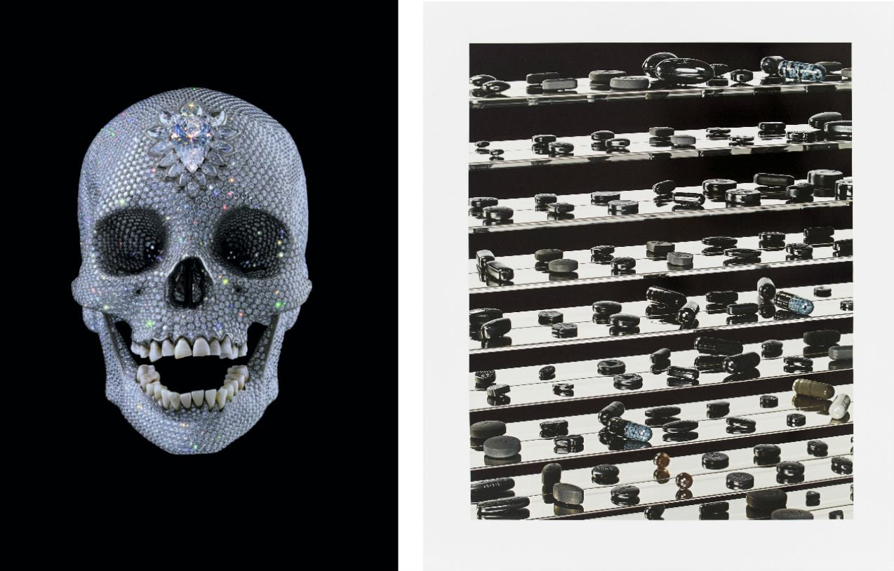 Left: Damien Hirst, For the Love of God, 2007. Courtesy of Paul Stolper Gallery. Right: Damien Hirst, Dead Black Utopia, 2012. Courtesy of Paul Stolper Gallery, available to buy on fineartmultiple