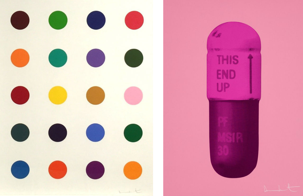 Left: Damien Hirst, Ala-Met, 2011. Courtesy of Gregg Shienbaum and fineartmultiple. Right: Damien Hirst, The Cure – Carnation Pink/Hot Pink/Violet Pink, 2014. Courtesy of Paul Stolper Gallery. Both available to buy on fineartmultiple