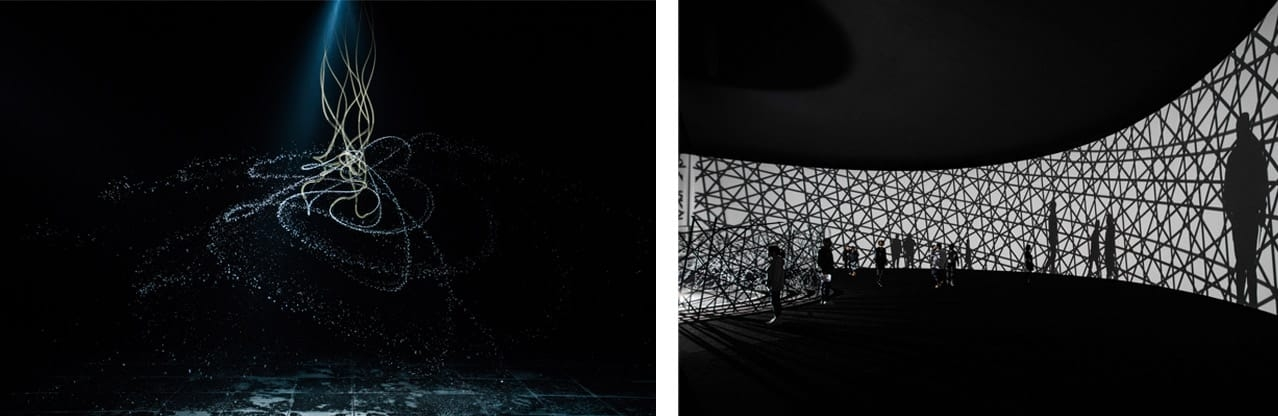 Left: Olafur Eliasson, Water pendulum, 2010. Right: Olafur Eliasson, Map for unthought thoughts, 2014. Photos: Xing Yu. Both Courtesy of Red Brick Art Museum, Beijing. © 2018 Olafur Eliasson