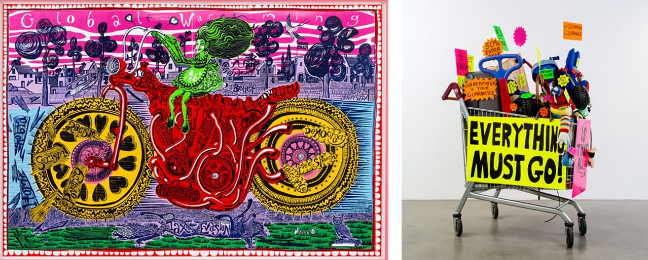 Left: Grayson Perry, Selfie with Political Causes, 2018. Courtesy of the artist and Paragon | Contemporary Editions Ltd. Right: Michael Landy RA Closing Down Sale, 1992. Courtesy of the artist and Thomas Dane Gallery. © Michael Landy