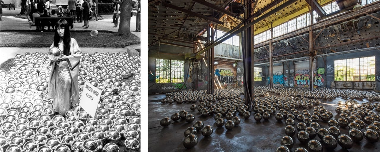 Yayoi Kusama with Narcissus Garden at 1966 Venice Biennnale and Kusama's Narcissus Garden at Rockaway! 2018