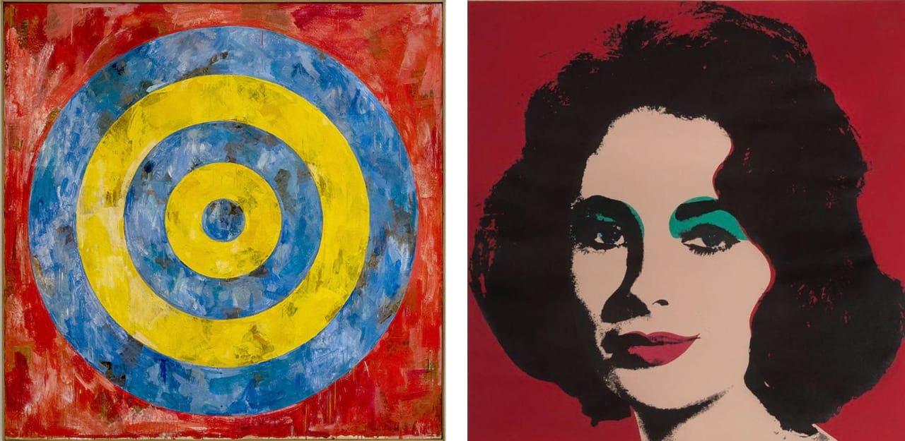 Left: Jasper Johns, Target, 1961. Image: via wikiart.org. Right: Andy Warhol, Liz (FS II.7), 1964. Courtesy of Gregg Shienbaum Fine Art and fineartmultiple, available to buy on fineartmultiple