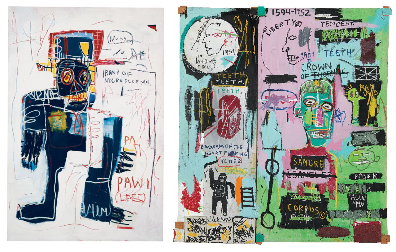 Left: Jean-Michel Basquiat, Irony of a Negro Policeman, 1981. Licensed by Artestar, New York. Courtesy of AMA Collection and The Estate of Jean-Michel Basquiat. Right: Jean-Michel Basquiat, In Italian, 1983. Image: © Robert McGeever. Licensed by Artestar, New York. Courtesy of The Brant Foundation and The Estate of Jean-Michel Basquiat