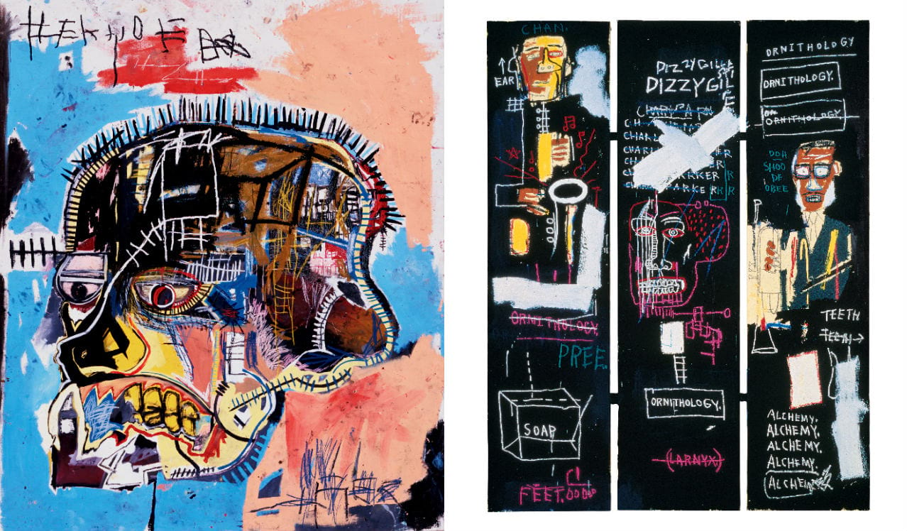 Left: Jean-Michel Basquiat, Untitled, 1981. Right: Jean-Michel Basquiat, Horn Players, 1983. Both images: © Douglas M. Parker, Los Angeles. Licensed by Artestar, New York. Both Courtesy of The Estate of Jean-Michel Basquiat