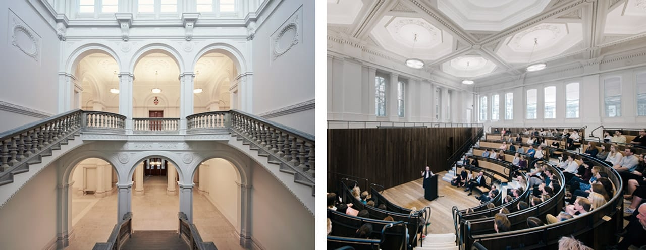 Left: The Wohl Entrance Hall at the Royal Academy of Arts, London. Image: Rory Mulvey. © Rory Mulvey. Right: The Benjamin West Lecture Theatre at the Royal Academy of Arts, London. Image: Simon Menges. © Simon Menges