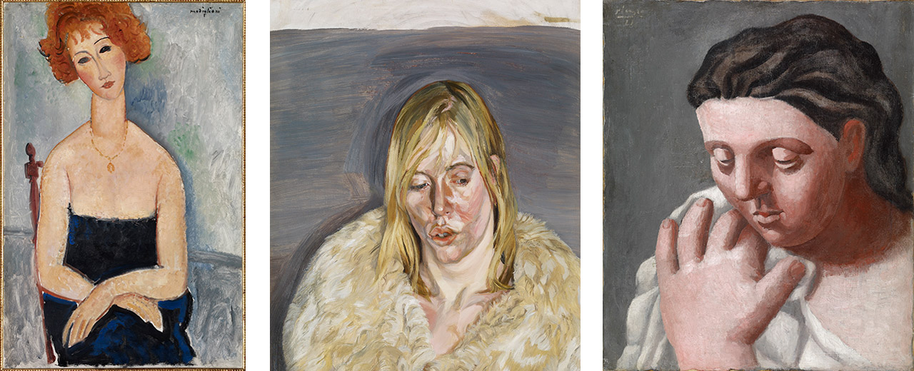 On the left Amedeo Modigliani, Red-headed Woman wearing a Pendant, 1918, in the middle Lucian Freud, Young Girl in a Fur Coat, 1967, and on the right Pablo Picasso, Woman's Head and Hand, 1921