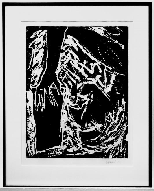 Georg Baselitz, Lesender Mann, 1982, Woodcut on paper