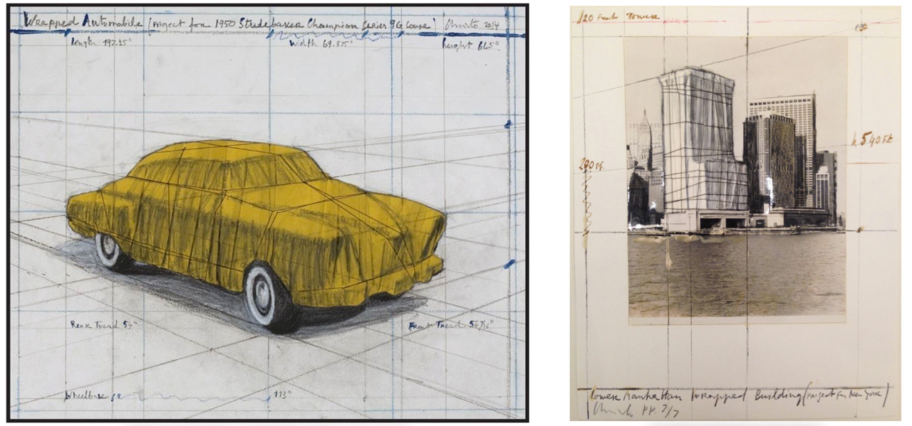 On the left Christo, Wrapped Automobile (Project for 1950 Studebaker Champion, Series 9 G Coupe), 2015 and on the right Lower Manhattan Wrapped Building, Project for New York, 1985