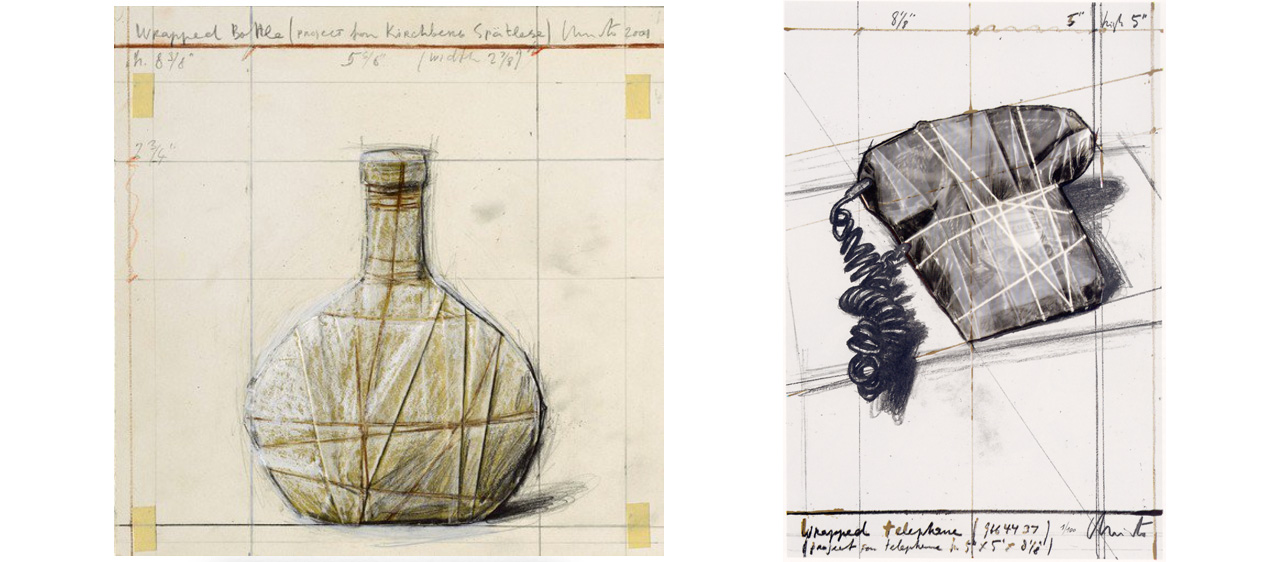 """On the left Christo, Wrapped Bottle (Project for Kirchberg Spätlese), 2001 and on the right Telephone """"12th Anniversary GJP"""", 1988"""