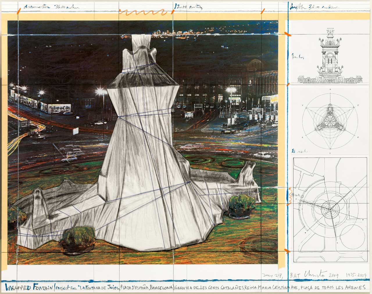Christo, Wrapped Fountain, 2009, Lithograph and collage