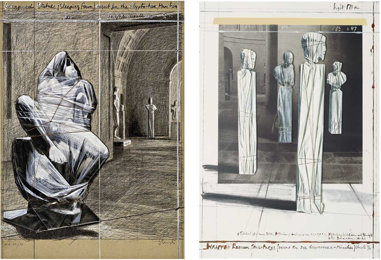 On the left Christo, Wrapped Statues, Sleeping Fawn, 2000 and on the right Christo, Wrapped Roman Sculptures