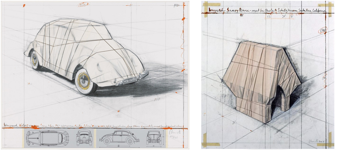On the left Christo, Wrapped Volkswagen (Project for 1961 Volkswagen Beetle Saloon) , 2013 and on the right Christo, Wrapped Snoopy House, 2004