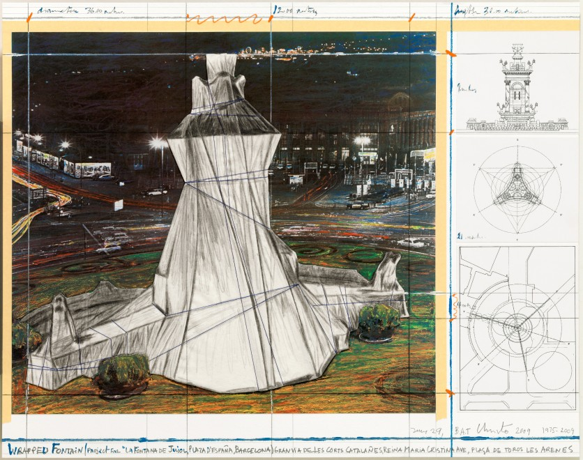 Christo and Jeanne-Claude, Wrapped Fountain, 2009, lithograph and collage