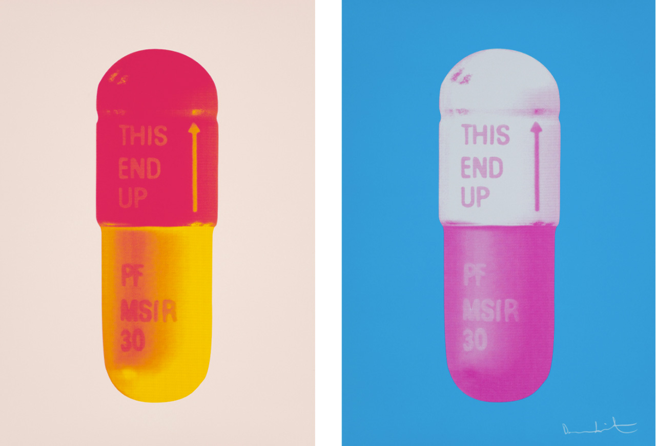 On the left Damien Hirst, The Cure - Powder Pink/Lollypop Red/Golden Yellow, 2014, Silkscreen and on the right Damien Hirst, The Cure - Vivid Blue/Cloudy Pink/Candy Floss Pink, 2015, Silkscreen