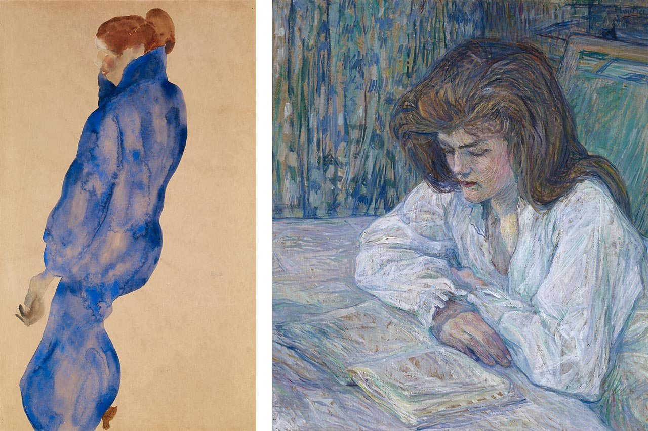 On the left Egon Schiele, Woman in a Blue Dress, 1911, and on the right Henri de Toulouse-Lautrec, Young Girl Reading, 1889