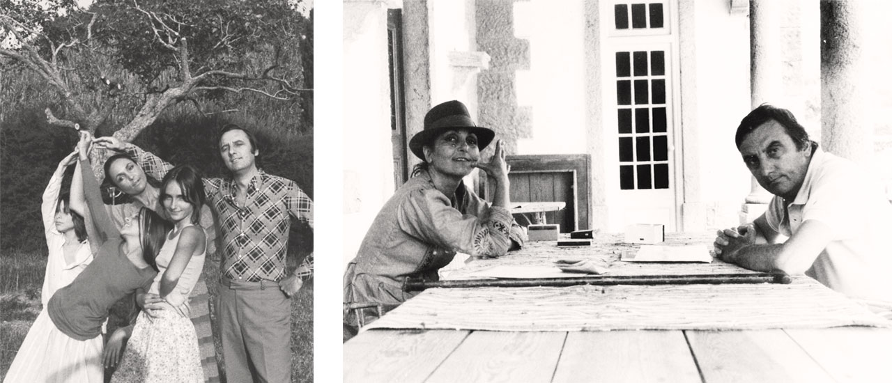 On the left Nick Willing, Paula Rego, Vicky, Cas & Victor in Ericeira, 1969 and on the right Paula Rego and Victor Willing at their home in Ericeira, Portugal, 1970